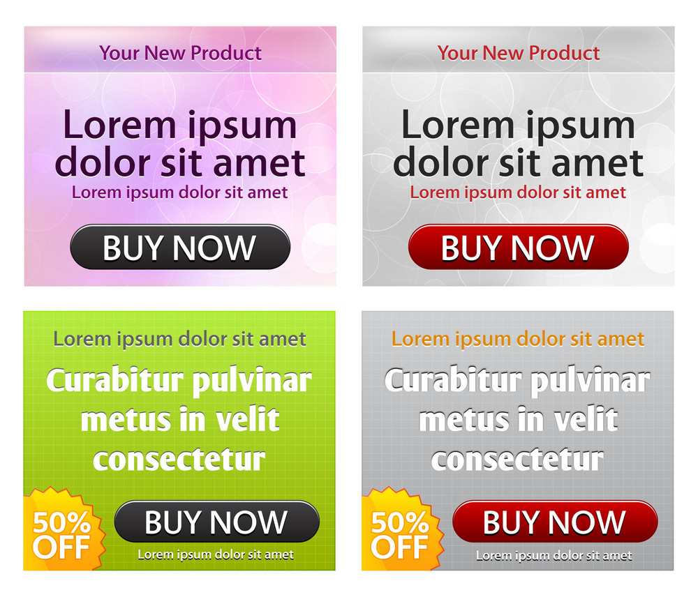 Vector Web Glossy Banners Set