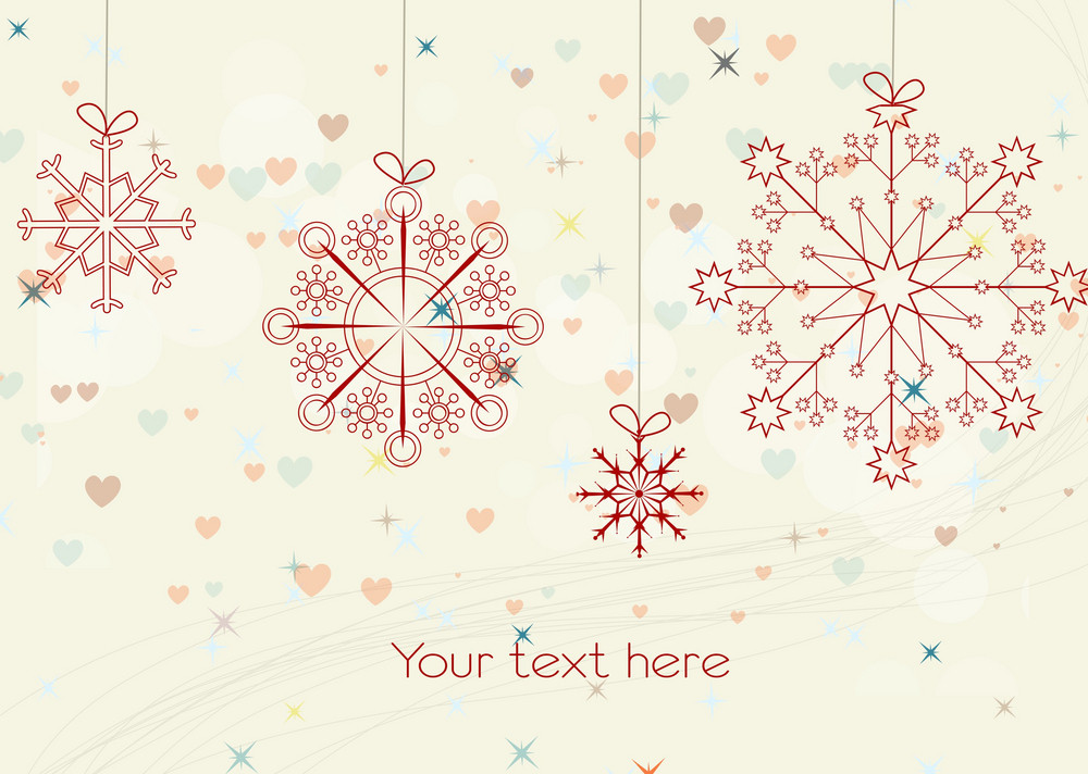 Vector Winter Background With Abstract Snowflakes
