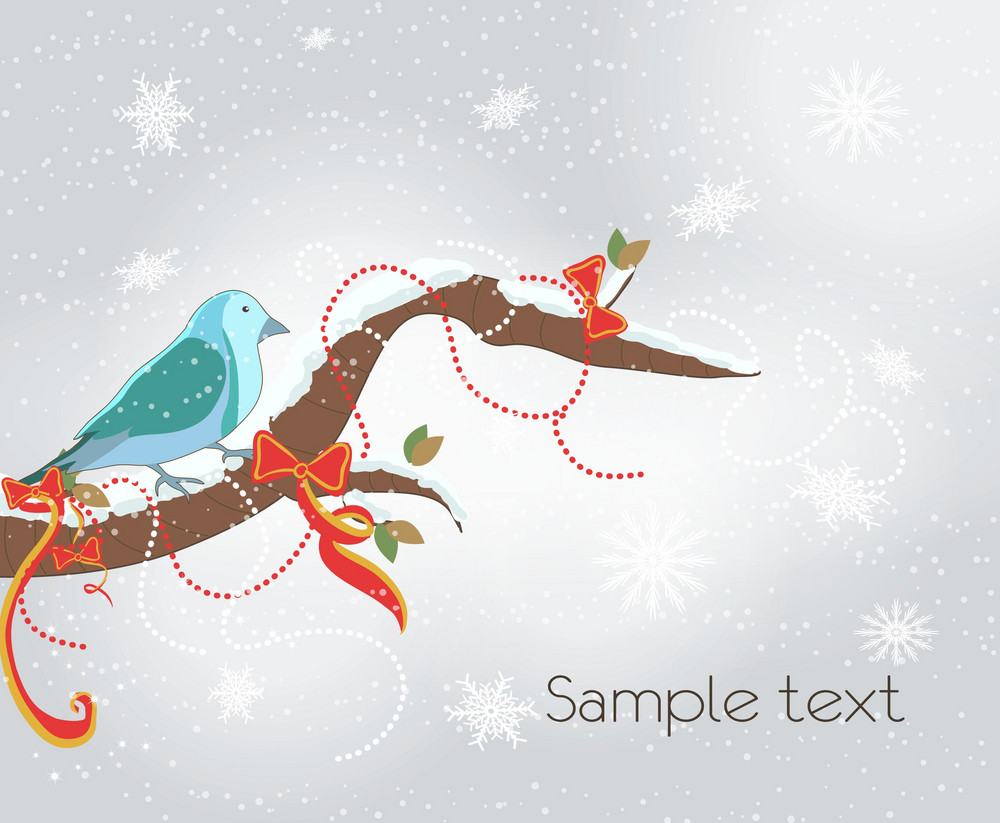 Vector Winter Background With Bird