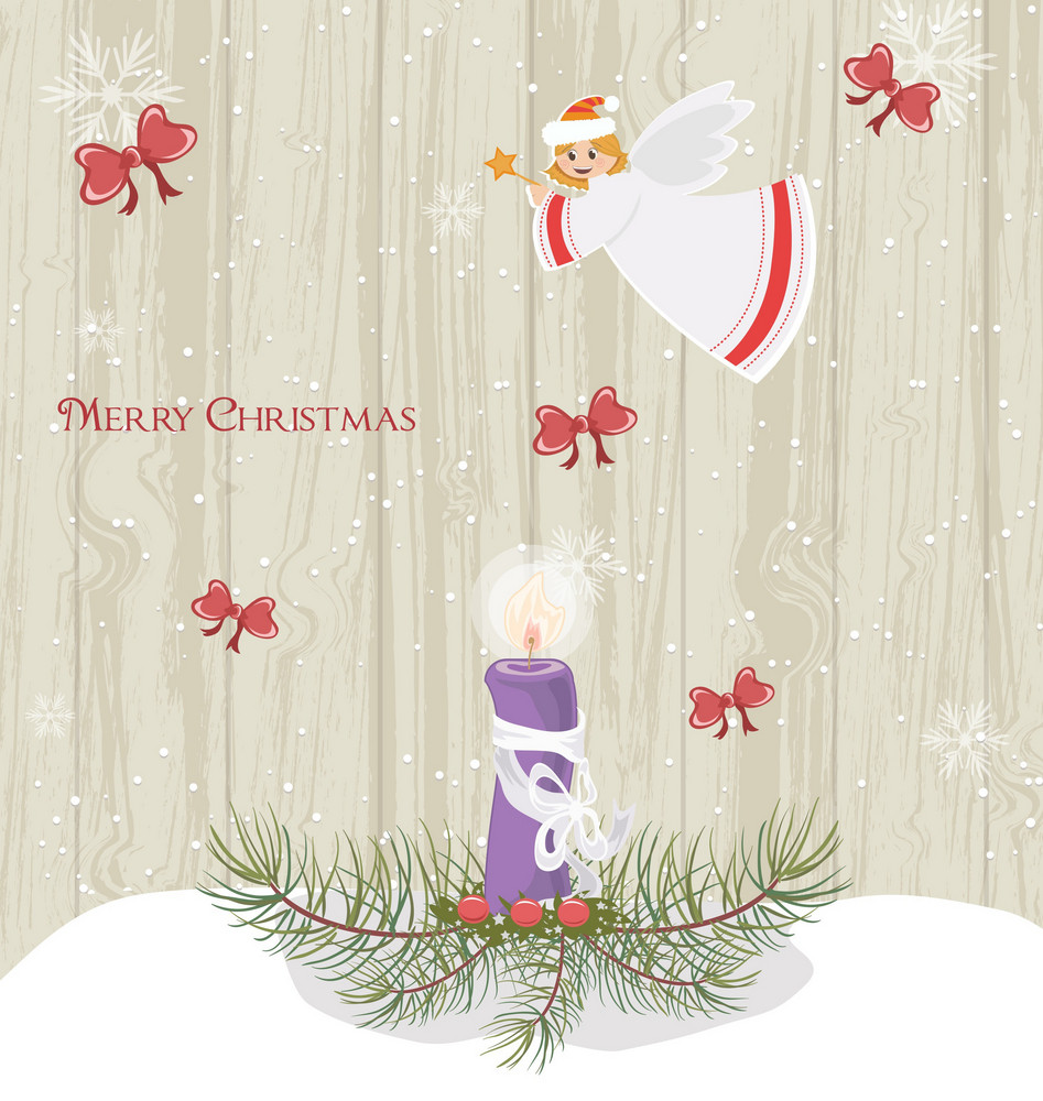 Vector Winter Background With Candle