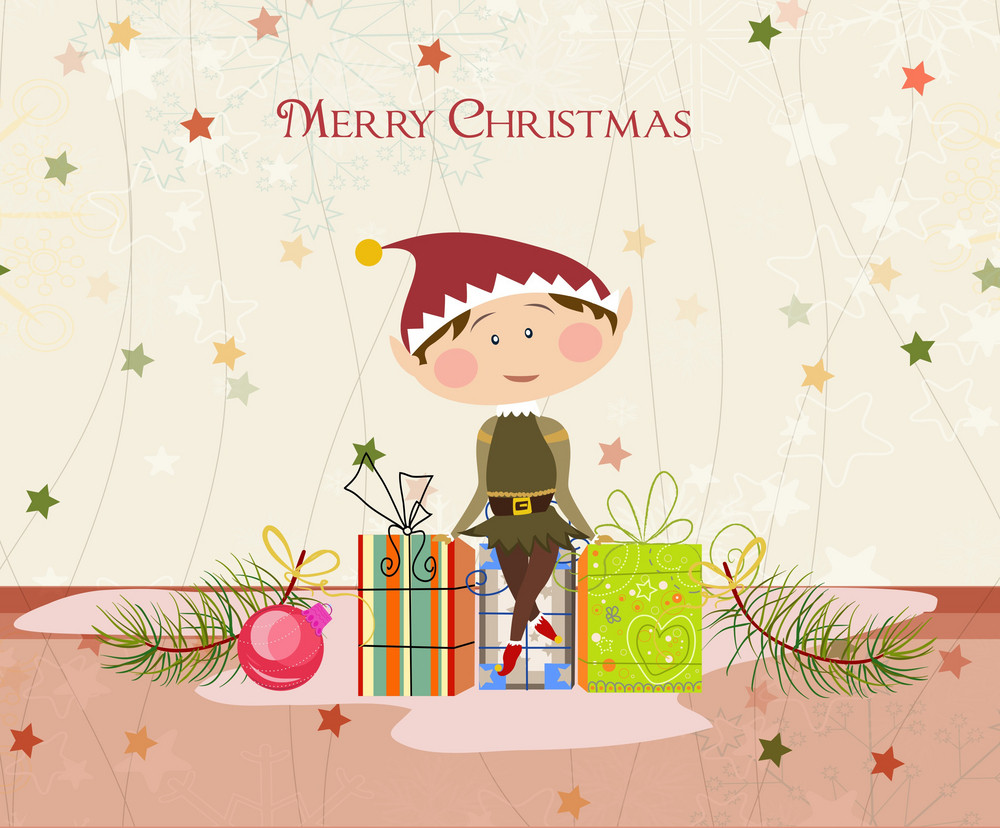 Vector Winter Background With Elf