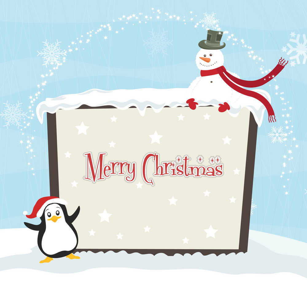 Vector Winter Background With Penguin