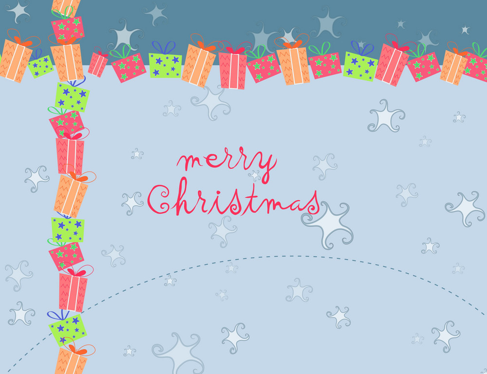 Vector Winter Background With Presents