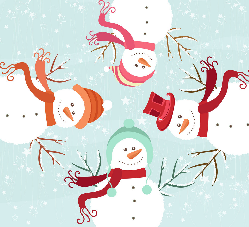 Vector Winter Background With Snowmen