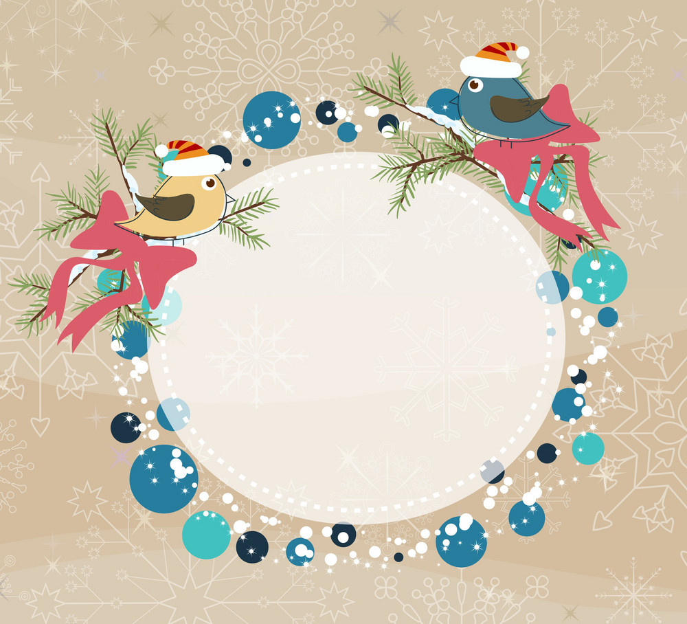 Vector Winter Frame With Birds