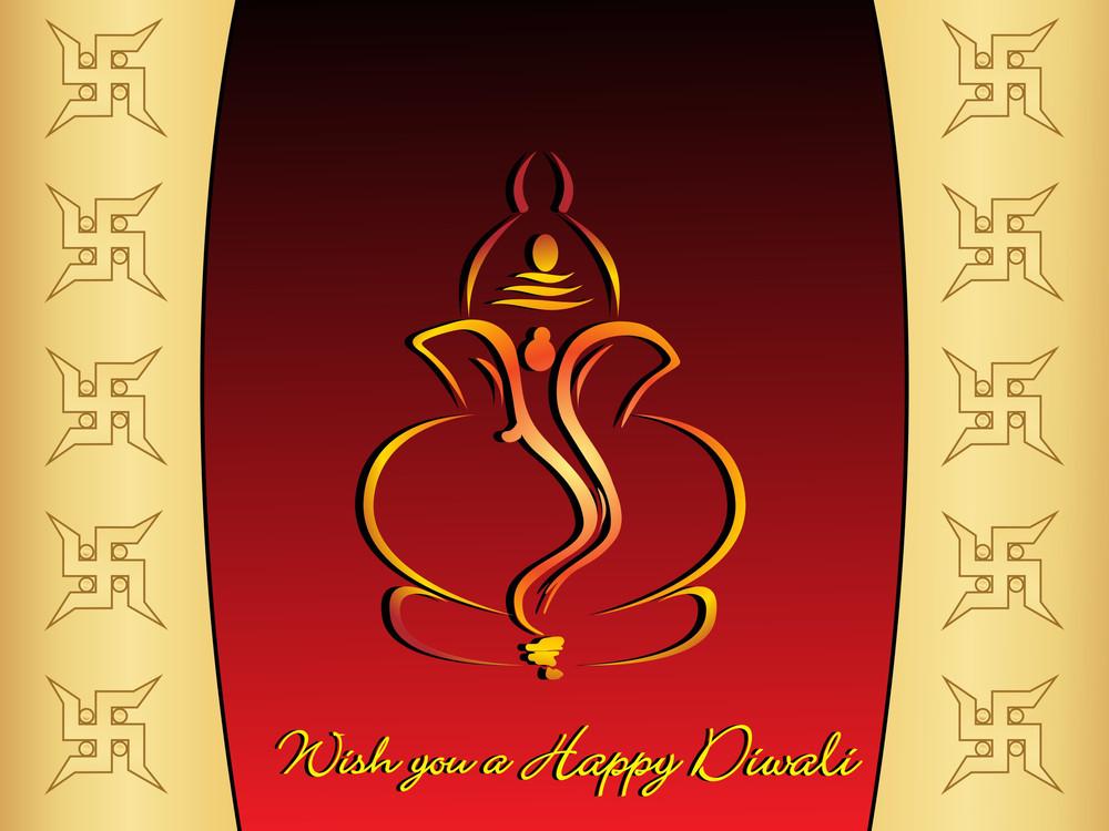 Vector Wish You A Happy Diwali Gretting Card