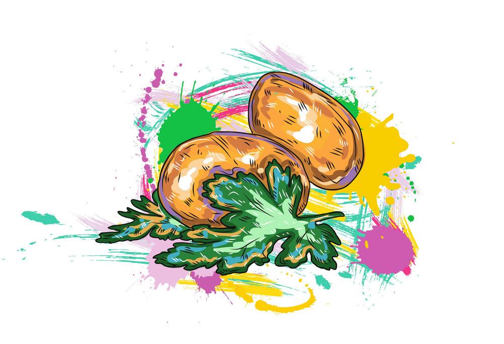 Vegetables With Grunge Vector  Illustration