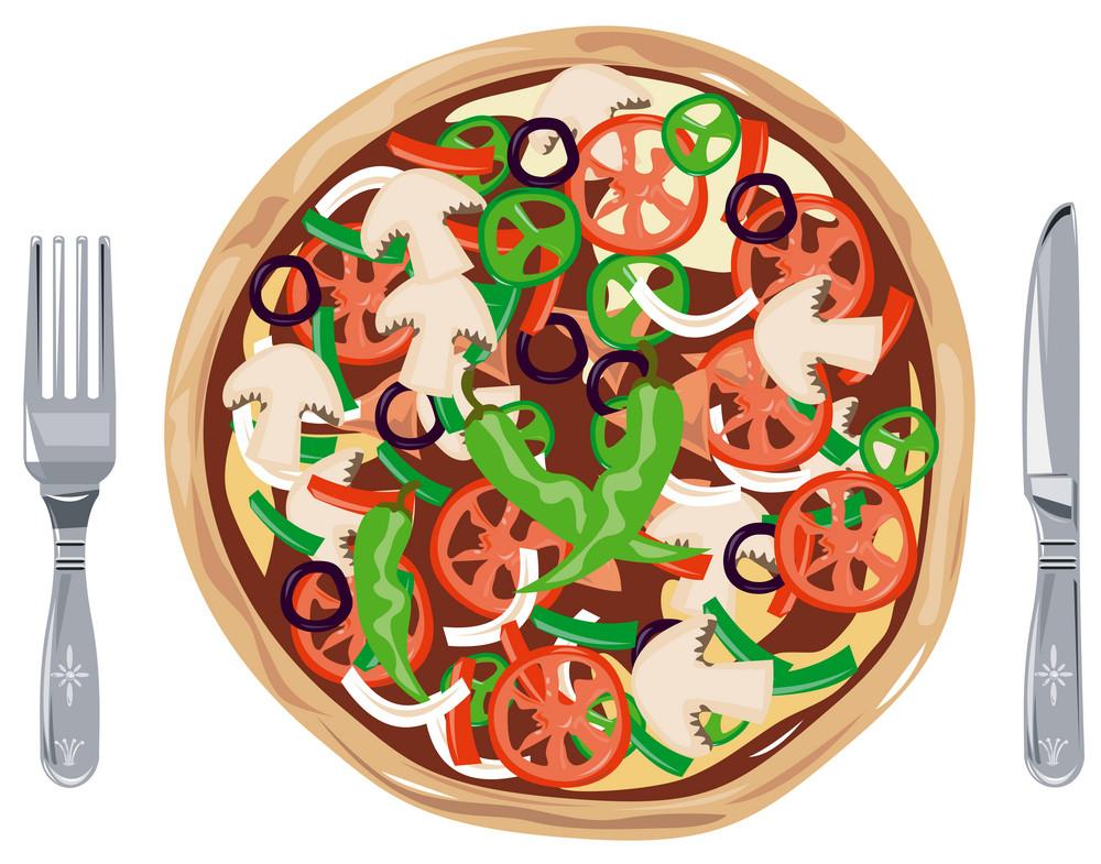 Vegetarian Pizza Pie Retro
