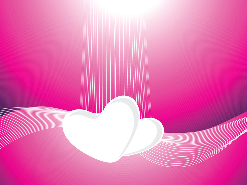 Velentine Heart And Waves Isolated On Pink