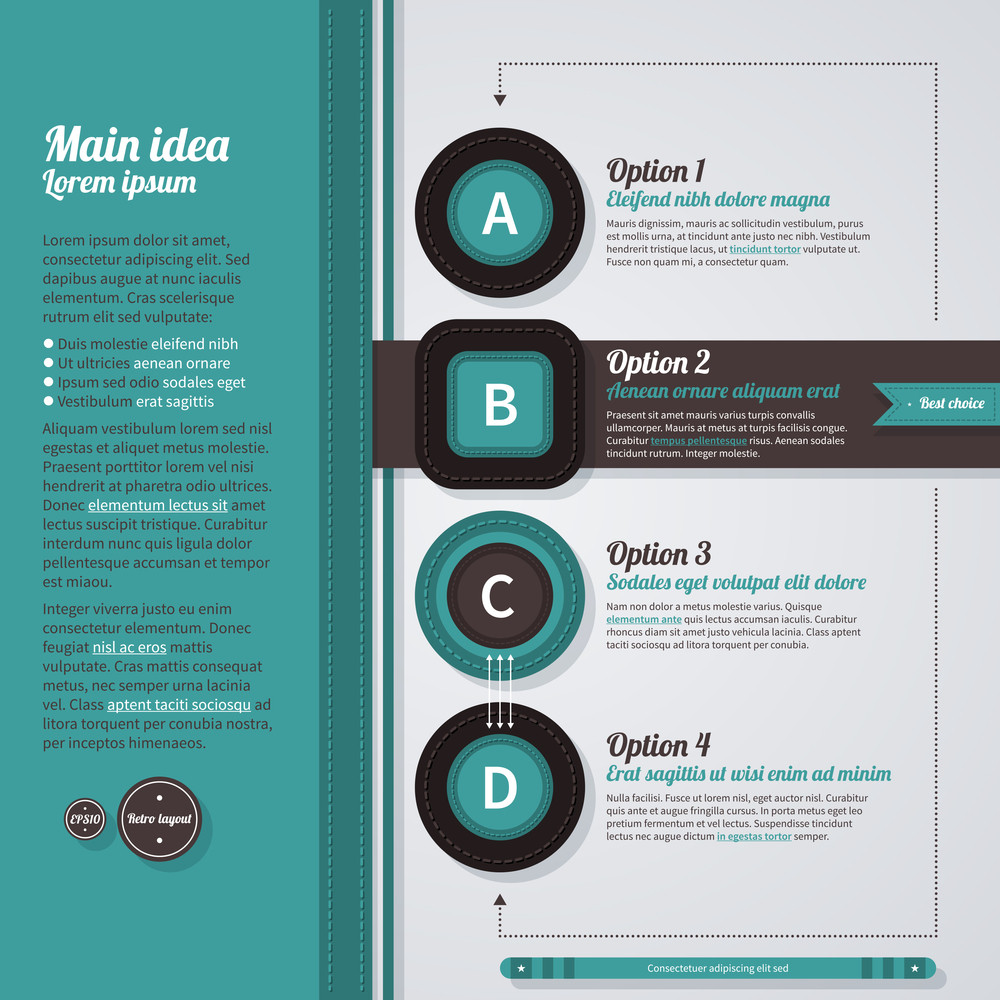 Vertical Web Layout In Retro Style With 4 Options. Eps10.