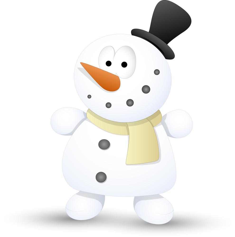 Very Cute Snowman - Christmas Vector Illustration