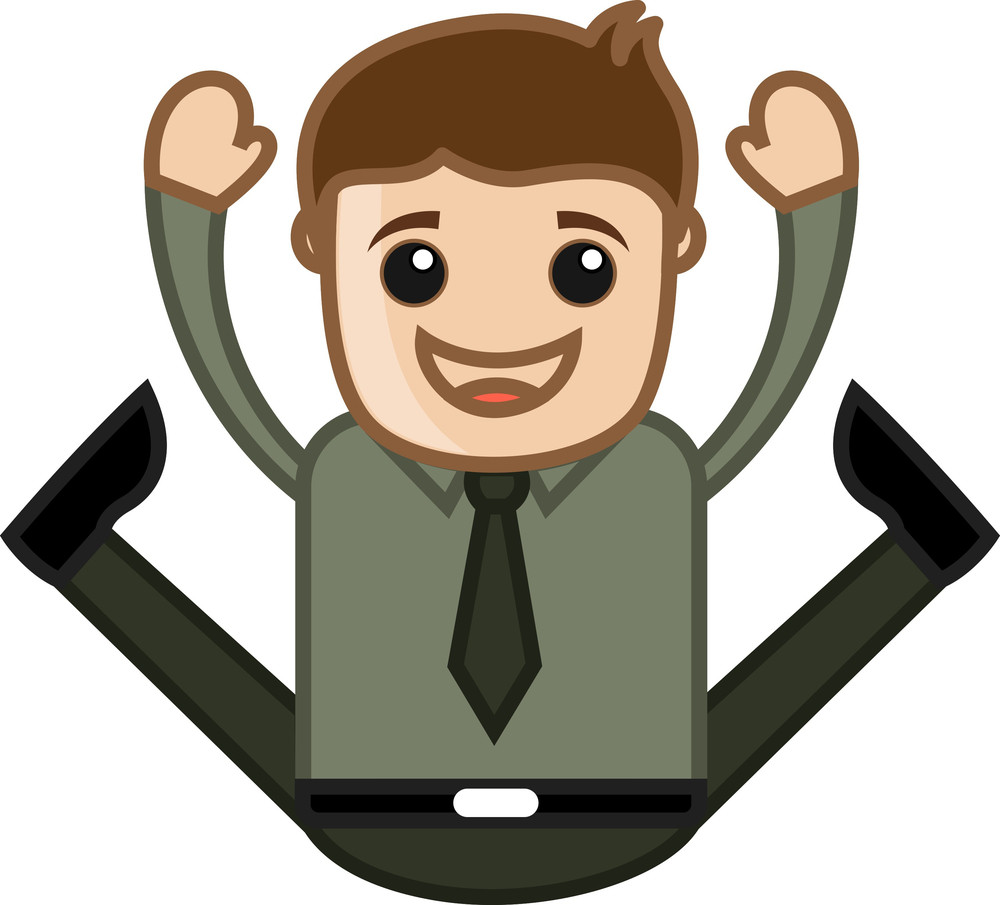 Very Excited Jumping Man - Office Corporate Cartoon People