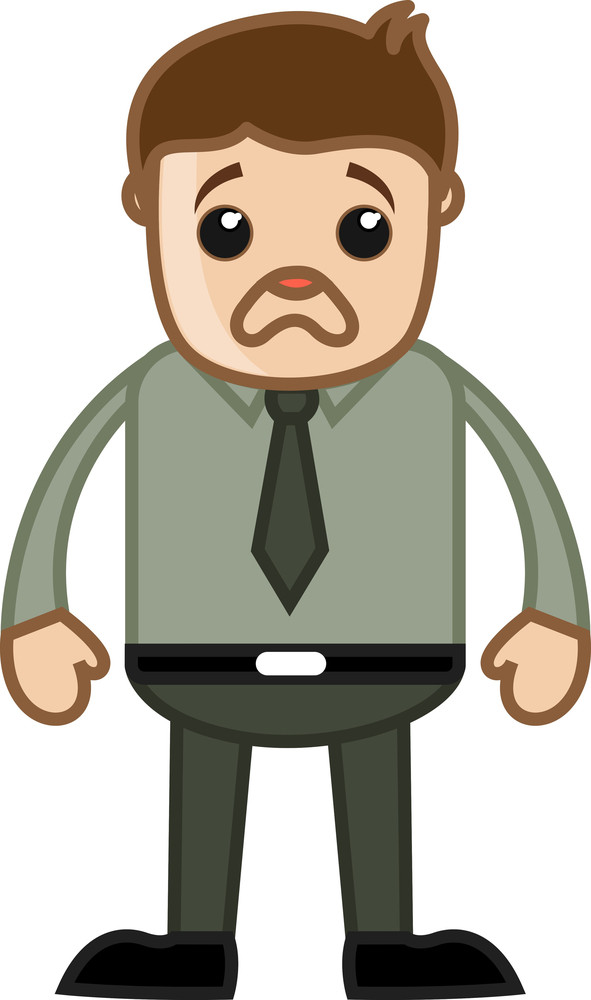 Very Sad Businessman - Business Cartoon Character Vector
