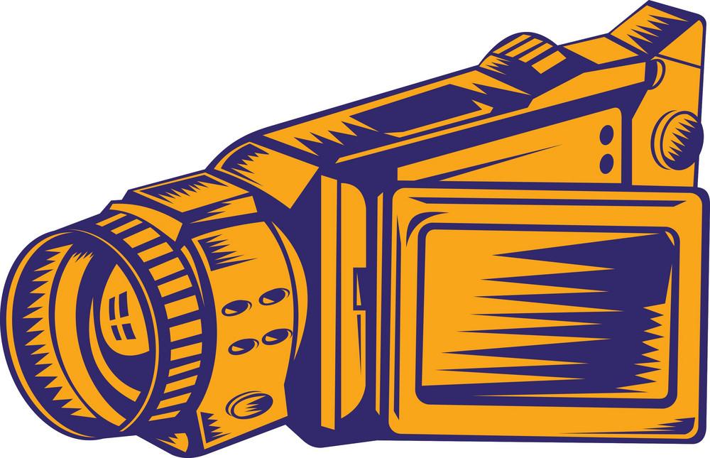 Video Camera Recorder Woodcut