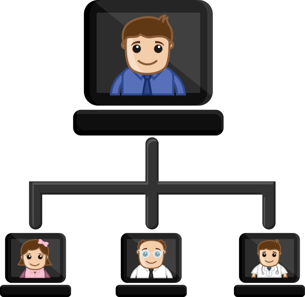 Video Conference  - Business Cartoon Characters Vector