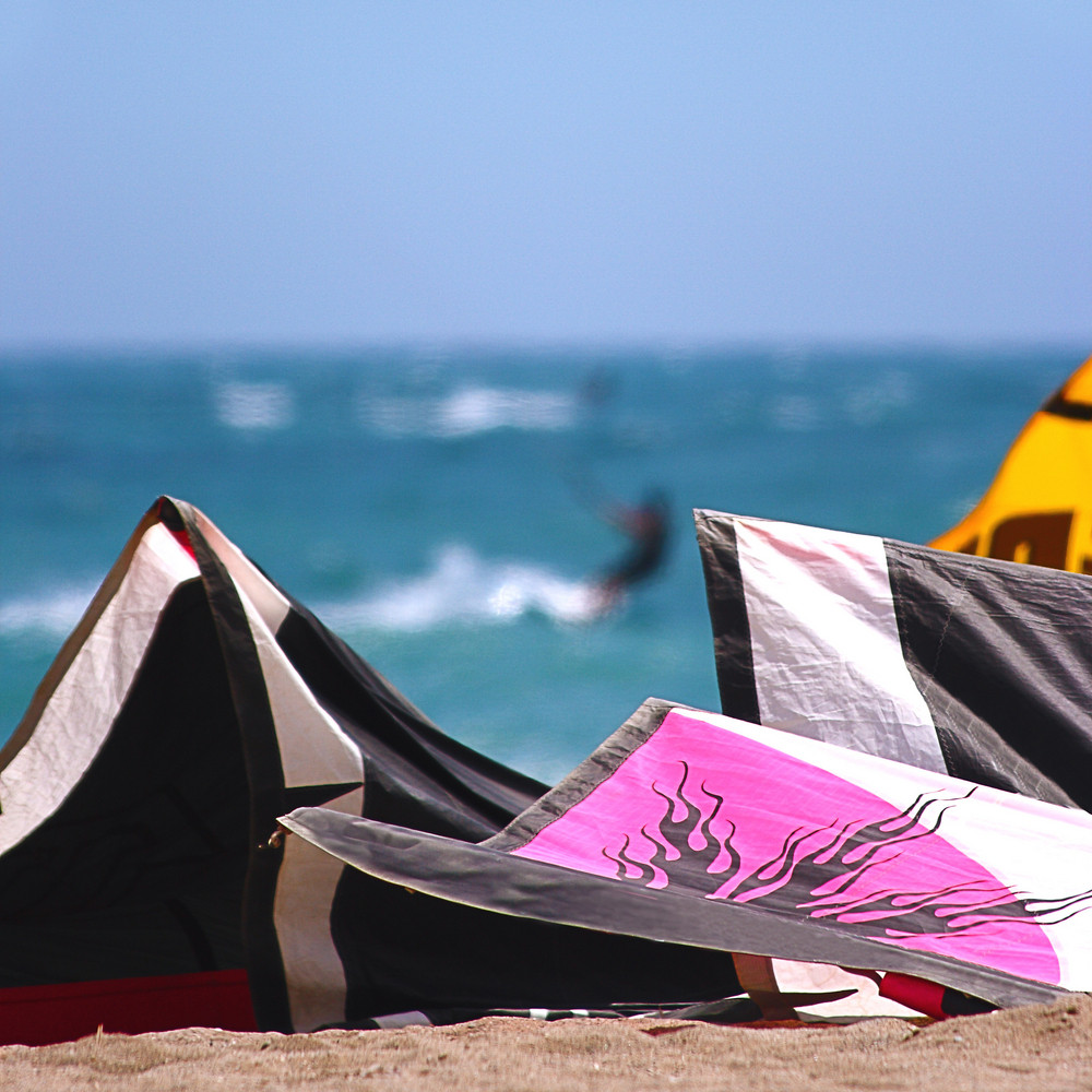 View Of Kite Surfing From The Shore