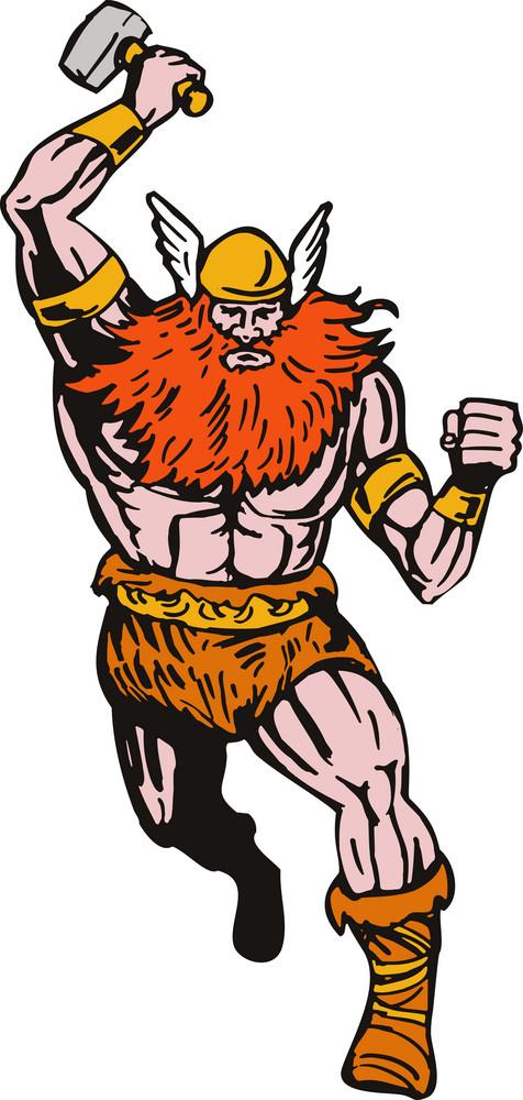 Viking Warrior Running With Hammer