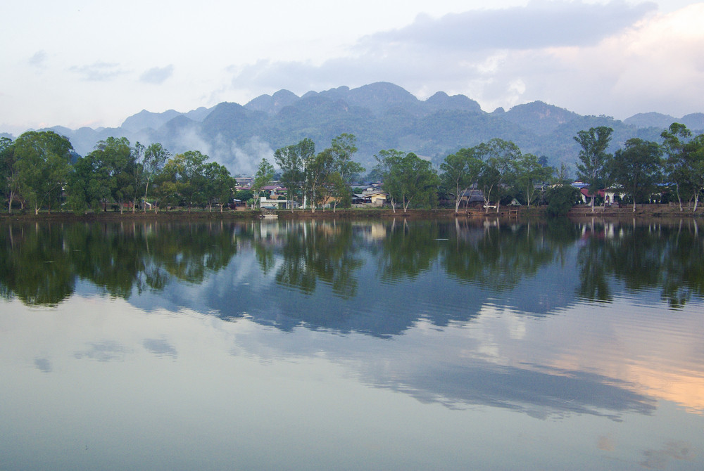 Village scenic with reflection on lake