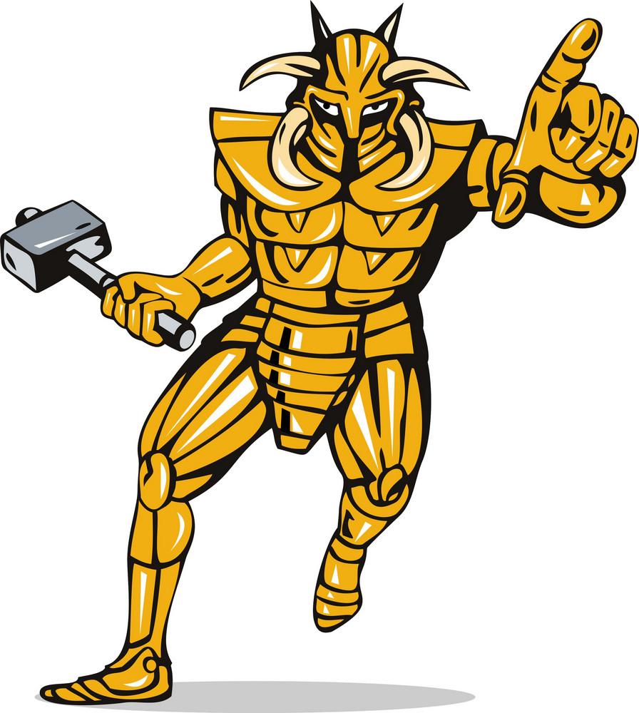 Villain Knight Armor With Hammer