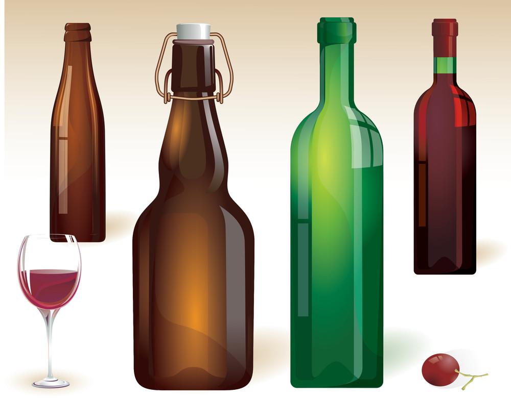 Vine Bottles. Vector.