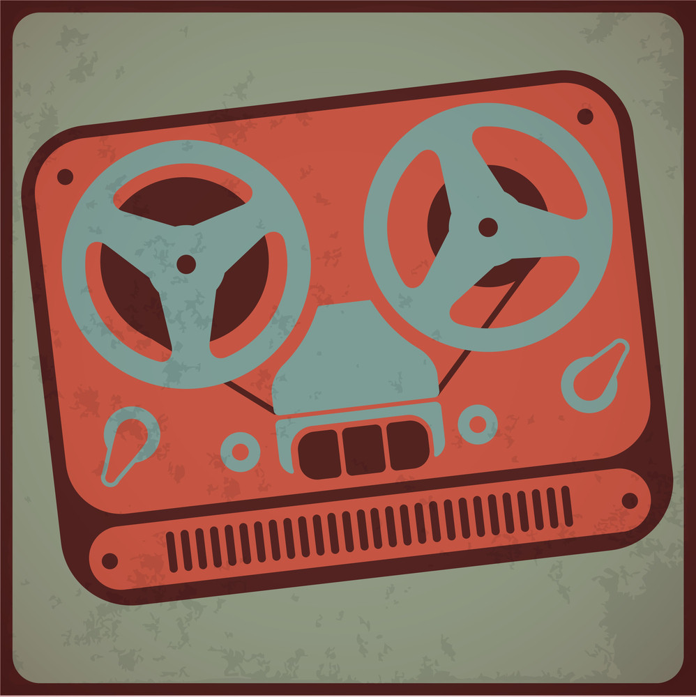 Vintage Analog Tape Recorder. Vector Illustration.