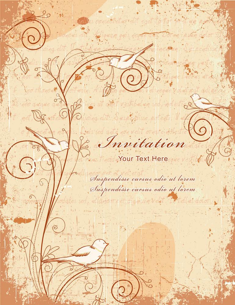Vintage Background With Birds Vector Illustration