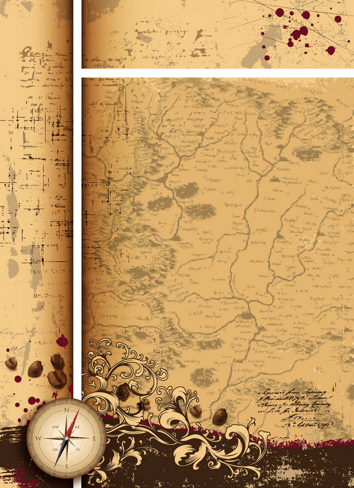 Vintage Background With Compass Vector Illustration