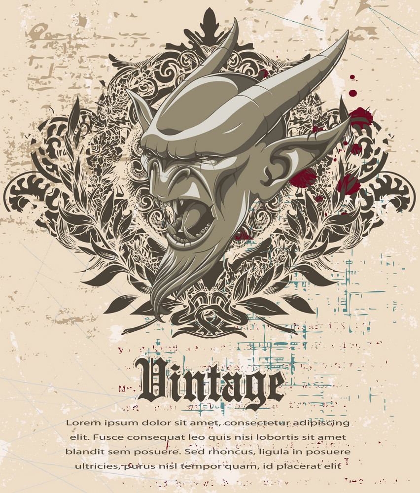 Vintage Background With Gargoyle Vector Illustration
