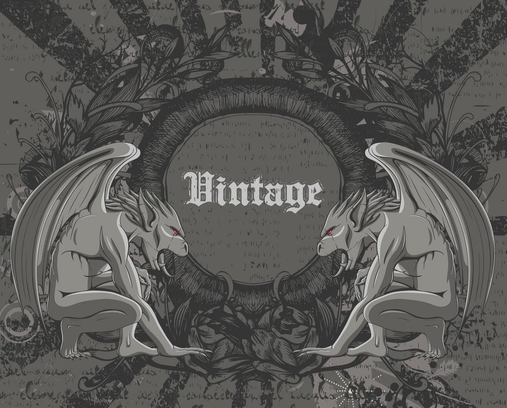 Vintage Background With Gargoyles Vector Illustration