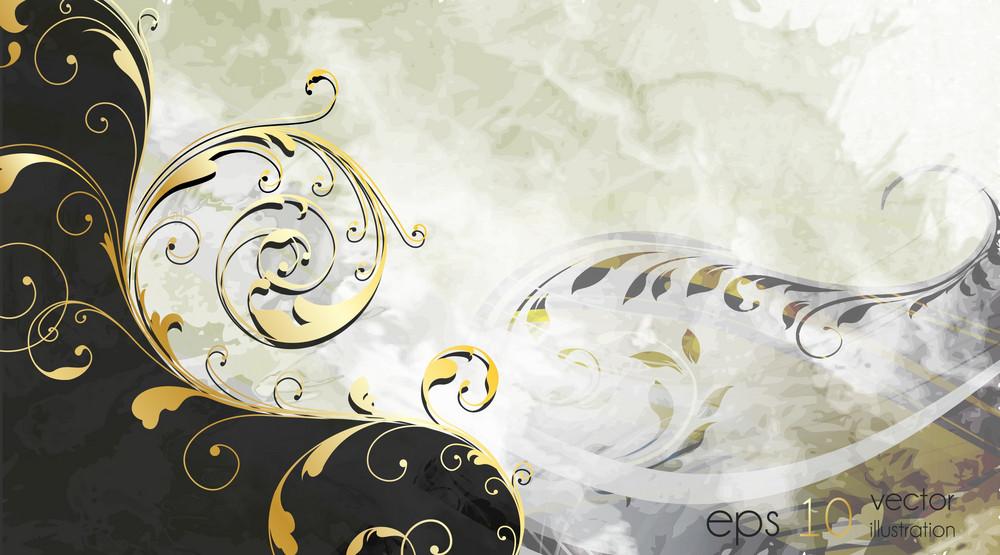 Vintage Background With Gold Floral Vector Illustration