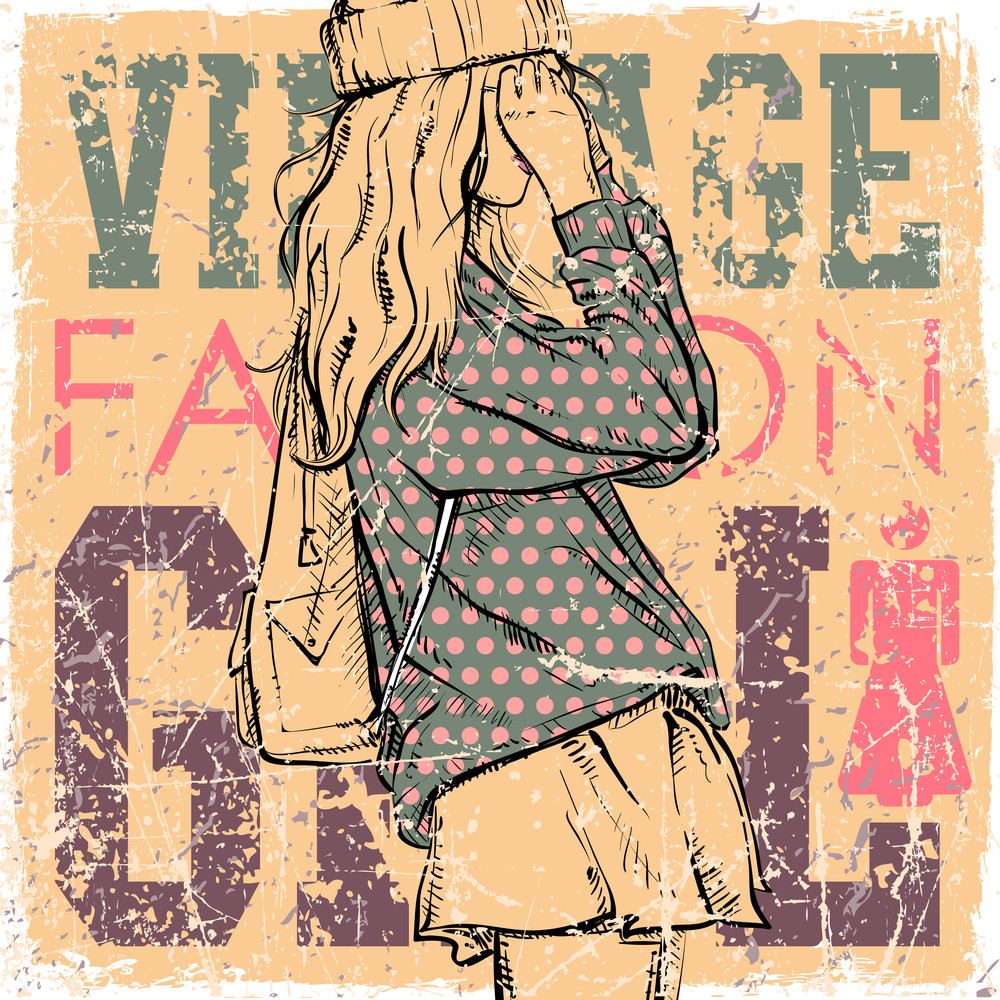 Vintage Background With Pretty Fashion Girl.
