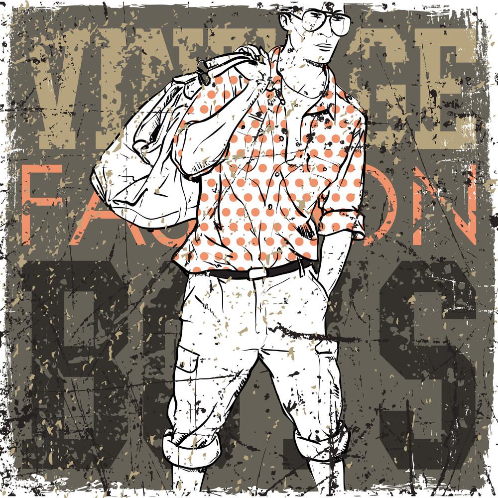 Vintage Background With Stylish Dude.