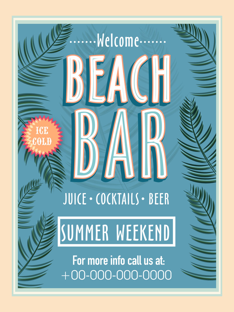 Vintage Beach Bar Template Banner Or Flyer Design For Summer Weekend - Weekend on call schedule template