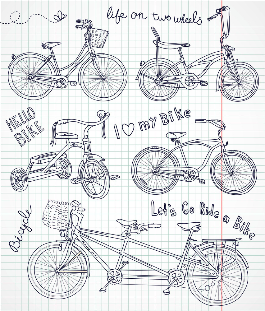 Vintage Bicycle Set In The Notebook