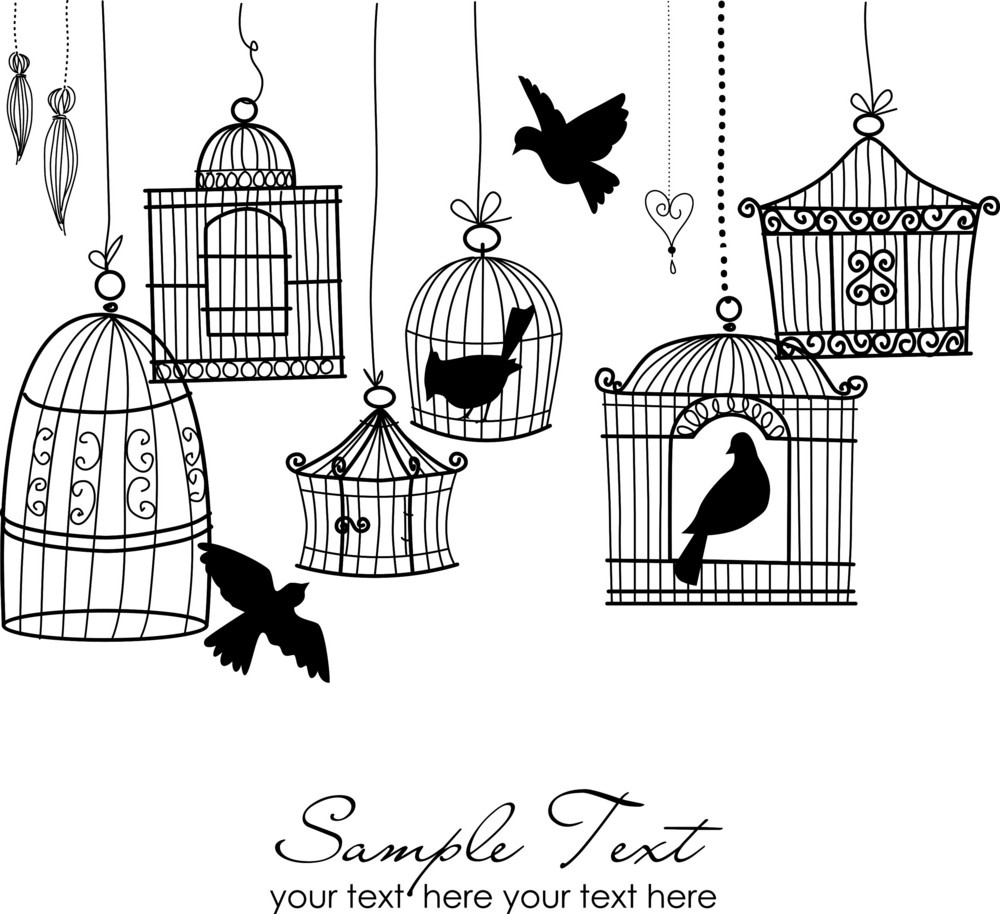 Vintage Bird Cages. Birds Out Of Their Cages Concept Vector