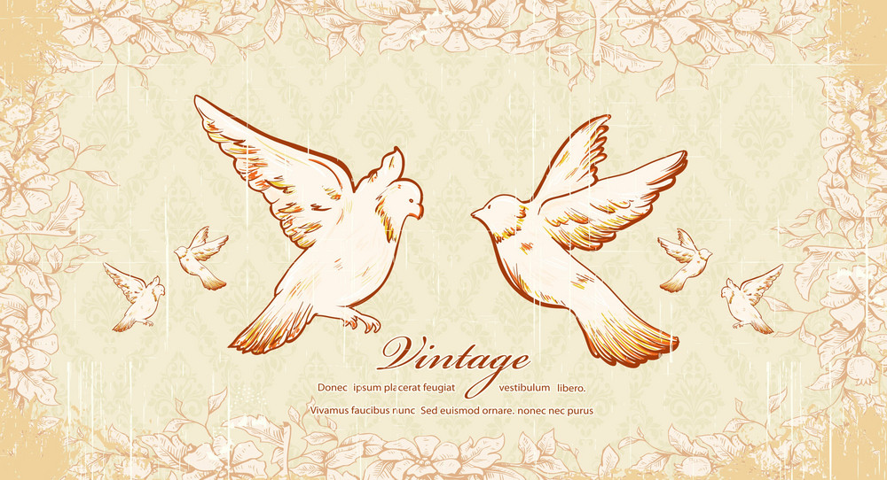 Vintage Birds Vector Illustration