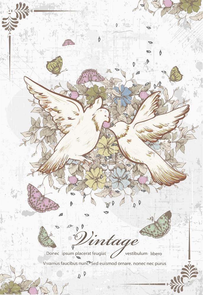 Vintage Birds Vector Illustration
