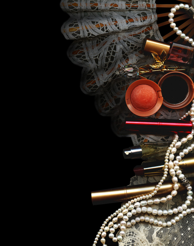 Vintage Boudoir Background. Perfume