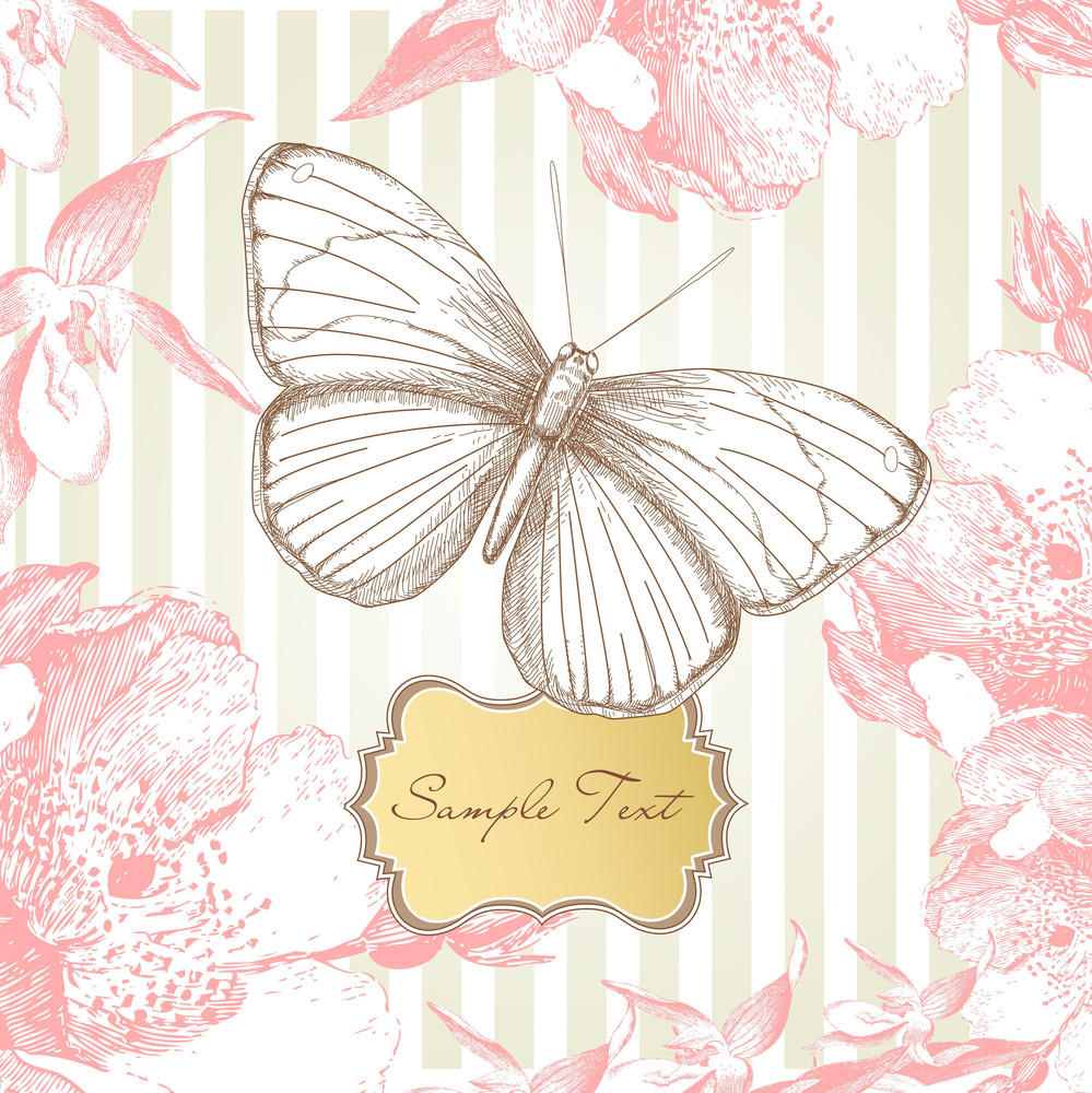 Vintage Card With A Butterfly