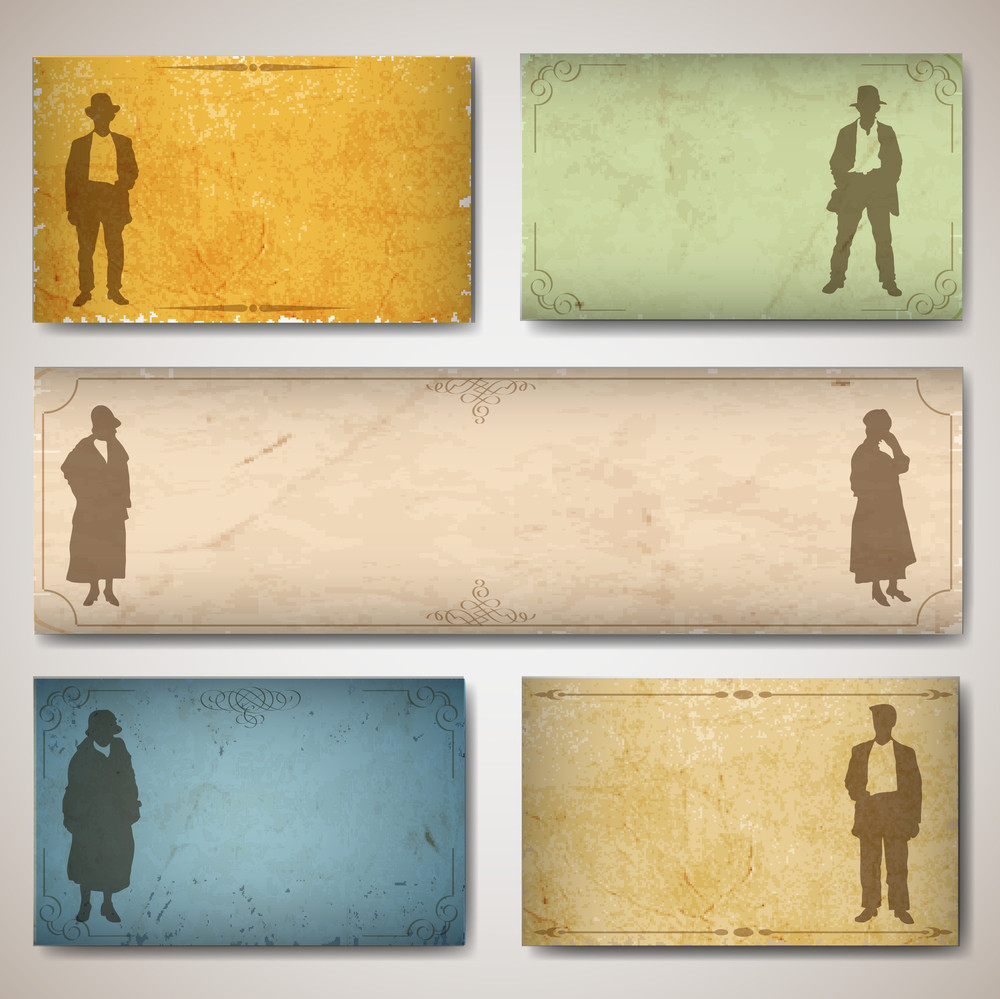 Vintage Card With Silhouettes