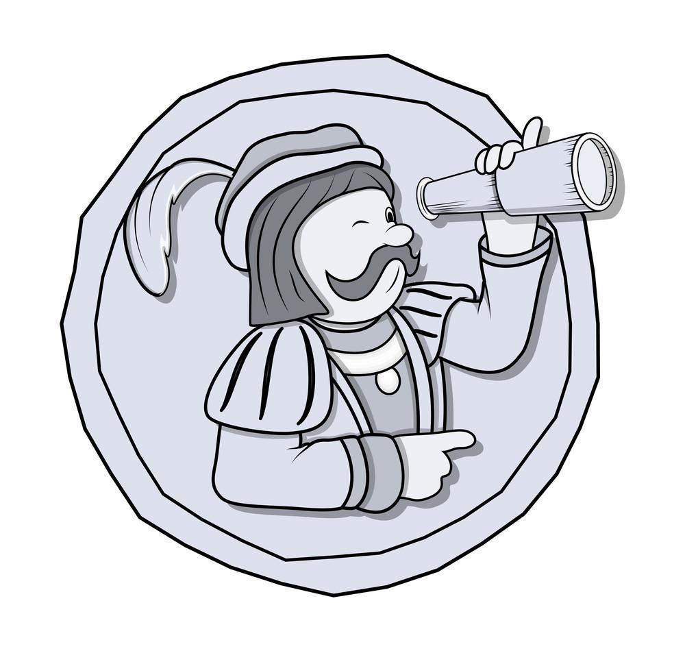 Vintage Cartoon Man With Binocular Vector Graphic