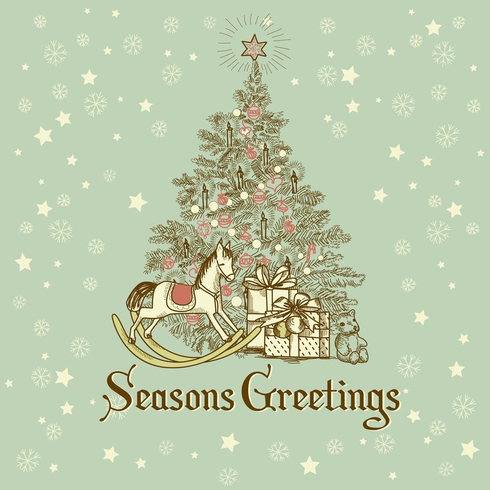 vintage christmas card beautiful christmas tree illustration - Beautiful Christmas Cards