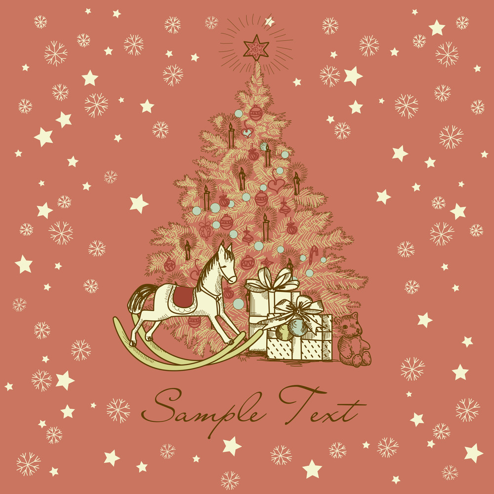 vintage christmas card beautiful christmas tree illustration - Beautiful Christmas Pictures