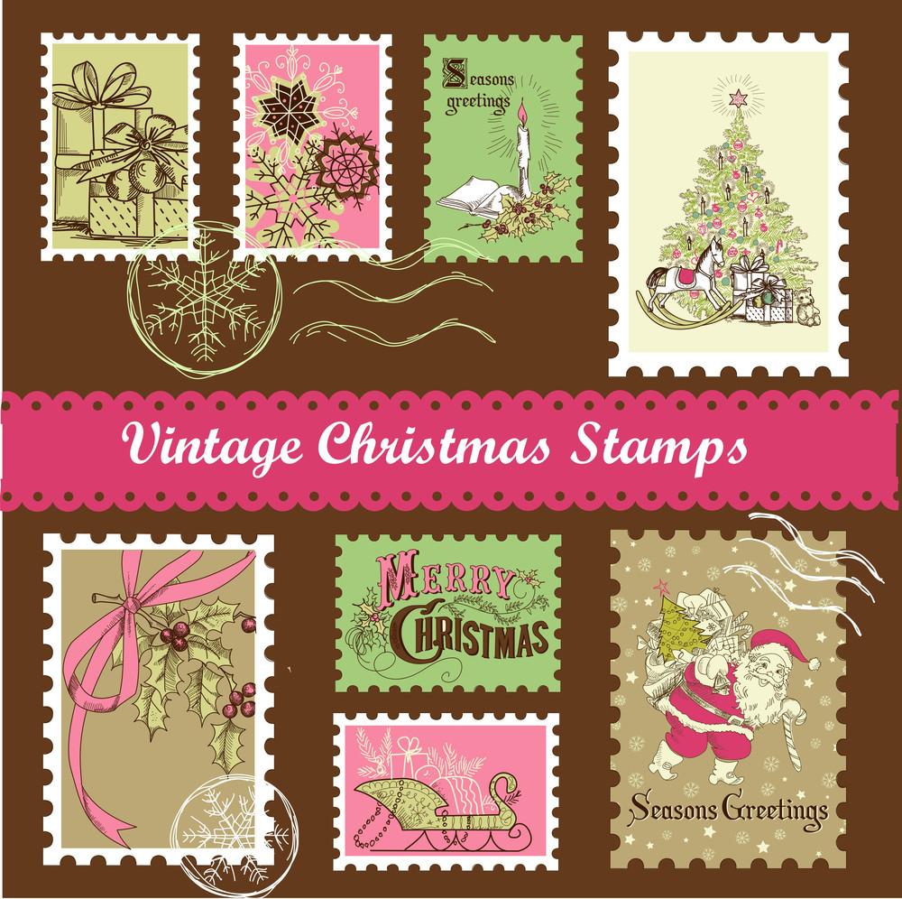 Vintage Christmas Postage Set
