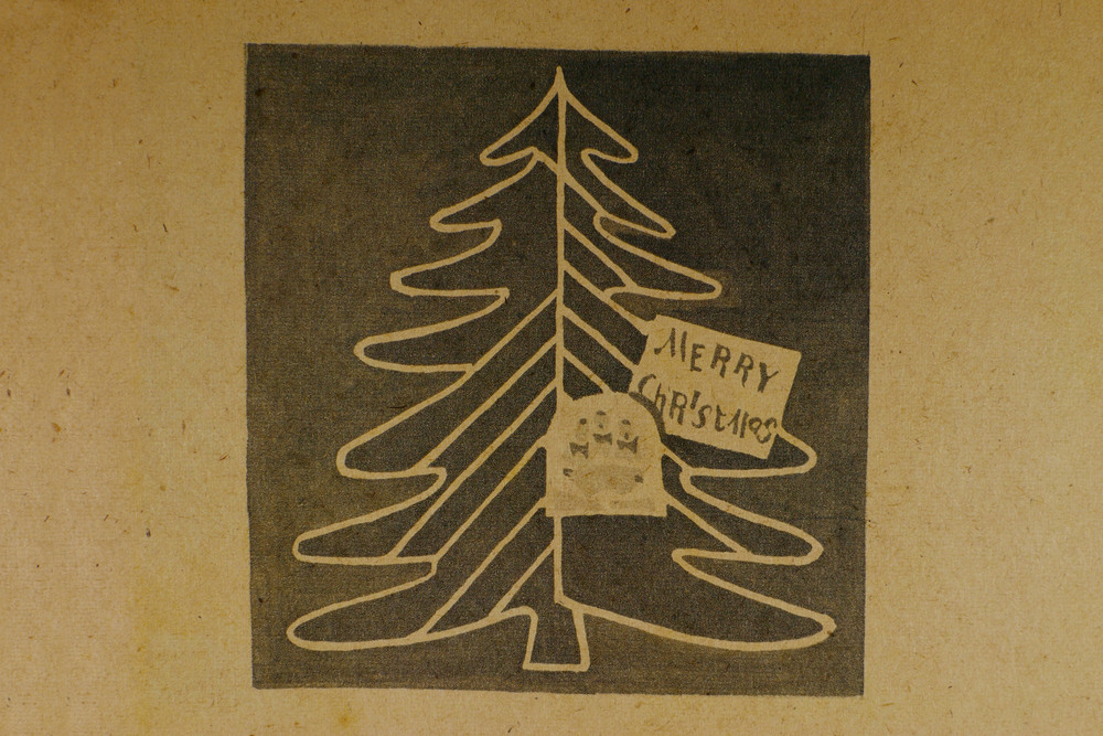 Vintage Christmas Tree Paper Background