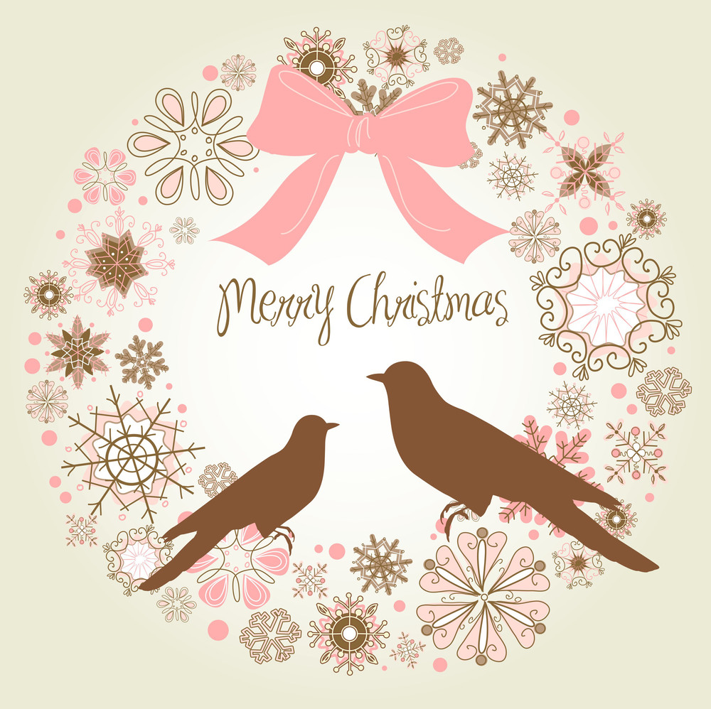 Vintage Christmas Wreath And Two Birds