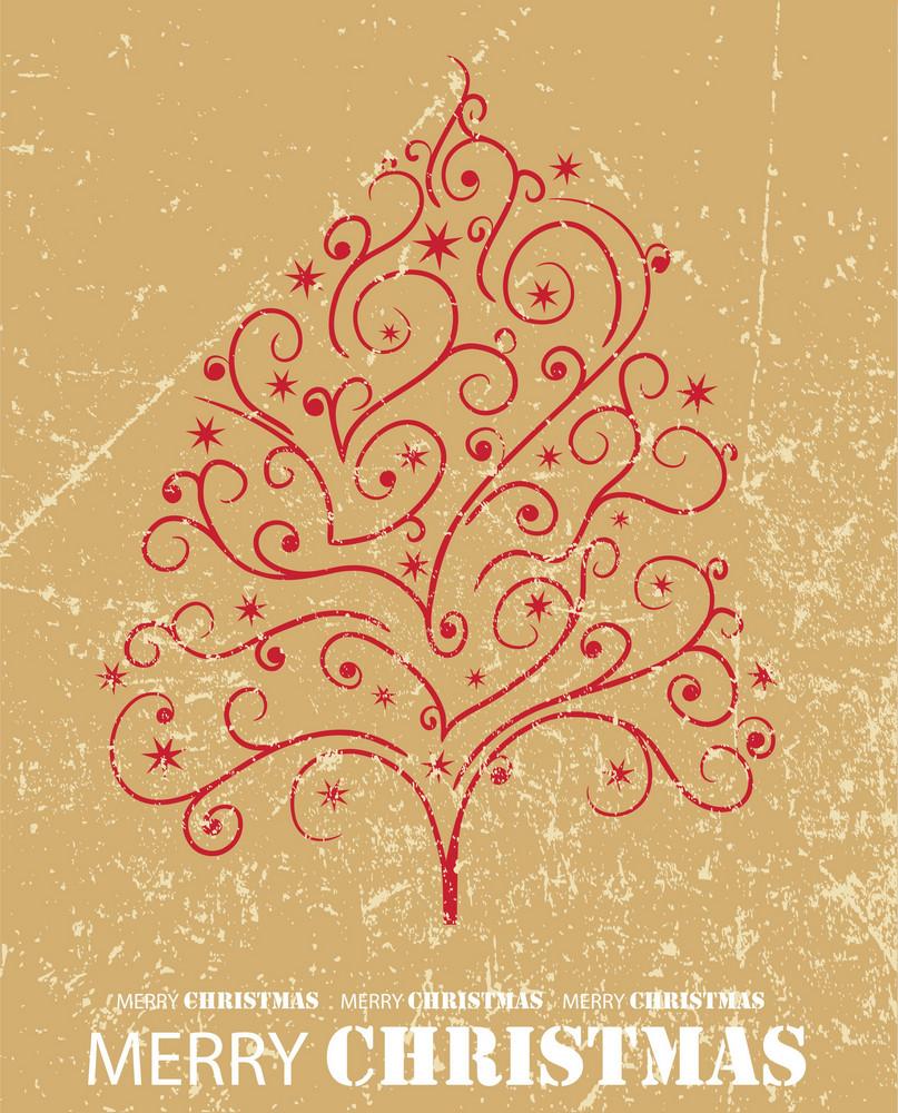 Vintage Christmass Tree Illustration