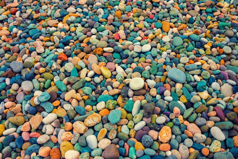 Vintage colorful pebbles background