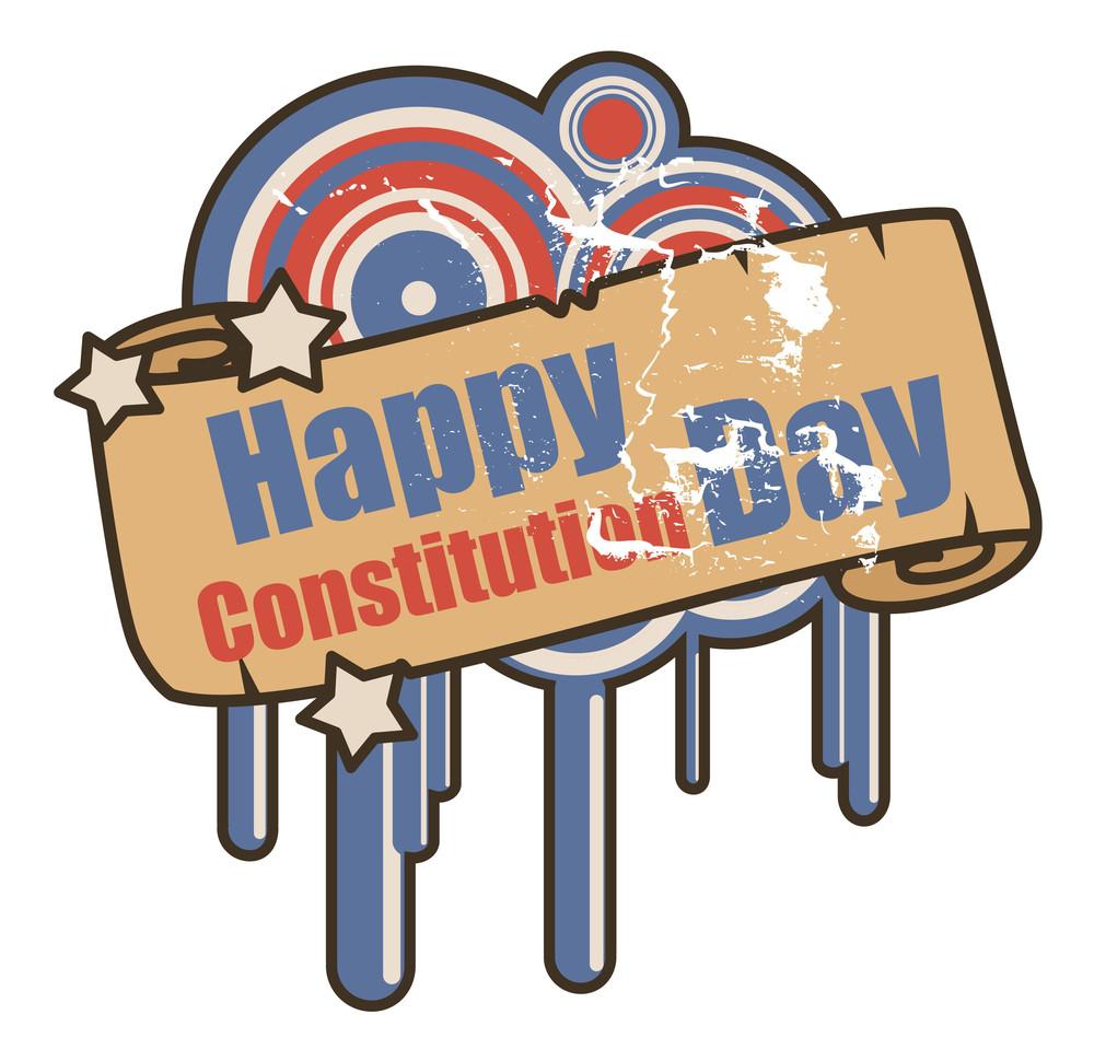 Vintage  Constitution Day Vector Illustration