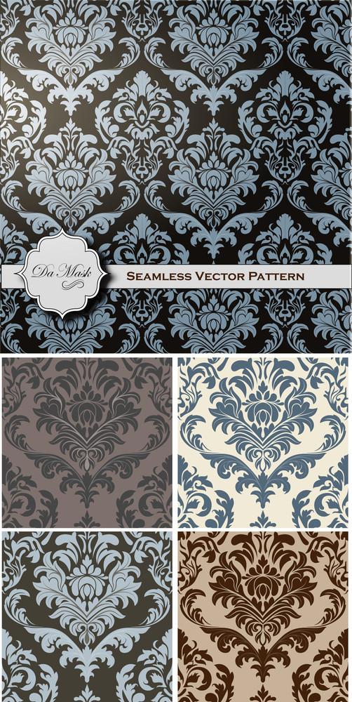 Vintage Damask Pattern Vector Backgrounds